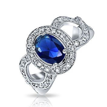 Oval Solitaire Blue Simulated Sapphire Engagement Ring Sterling Silver