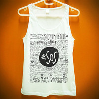 5SOS Graphic Tshirt Shirt White Tank Tops Women Girl Size S M L XL