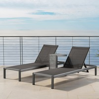 Coral Bay Outdoor Gray Aluminum Chaise Lounge and C-Shaped Side Table