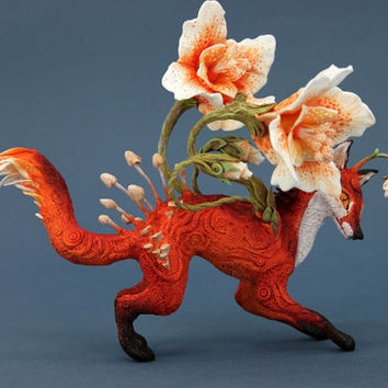 Flower Fox Fantasy Figurine Sculpture, Animal magic spirit amulet