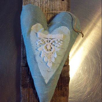 Primitive heart, wall decor, reclaimed wood door hanger, grungy cloth heart, Easter gift, birthday gift, shabby rustic ornie, new home gift