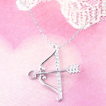 Cupid's Bow & Arrow Necklace in Sterling Silver