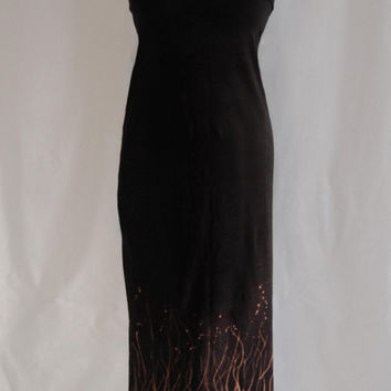 floor length fishtail skirt // high waisted //uneven hem // tube top dress // witchy // black // bleach pen // plants // nature