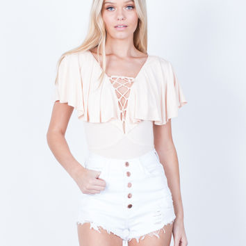 Rose Gold Buttoned Shorts