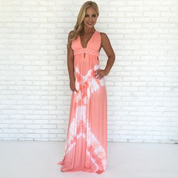Coral Tie Dye Maxi Dress by SKY