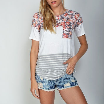 Floral and Stripes Colorblock Tee - two options