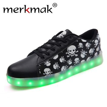 LED Men's Shoes Unisex Cool Punk Skull Led