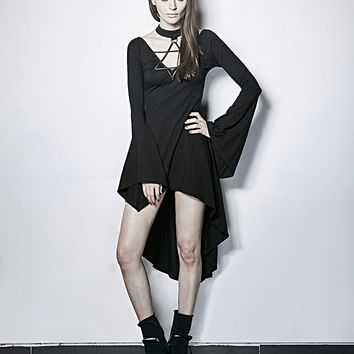 Women's Goth Star Choker Dress  - Batwing Sleeves and Irregular Hemline