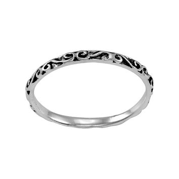 Itsy Bitsy Sterling Silver Antiqued Scrollwork Midi Ring (Grey)