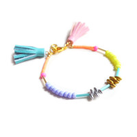 Neon Beaded Friendship Bracelet with Pink and Blue Leather Tassels | Boo and Boo Factory - Handmade Leather Jewelry