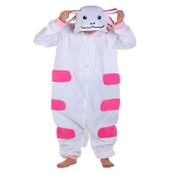 Cartoon Animal Cute Newt/ Axolotl salamander Japan Soft Pajamas Anime Cosplay Costume Unisex Adult Onesuit Sleepwear