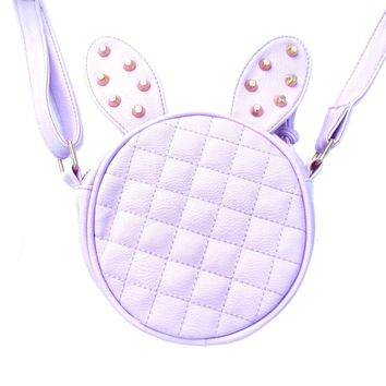 Round Bunny Rabbit Ears Shaped Quilted Cross Body Shoulder Bag in Purple with Studs