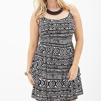 FOREVER 21 PLUS Tribal Print Cami Dress Black/White