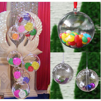 12pcs Christmas Tress Decorations Ball 6cm Transparent Open Plastic Clear Bauble Ornament Gift Present Box Decoration IC879324