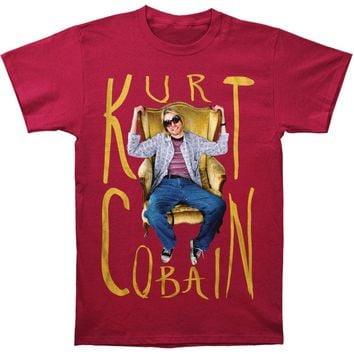 Nirvana Men's  Kurt Cobain Sitting Chair Photo Mens T T-shirt Cardinal