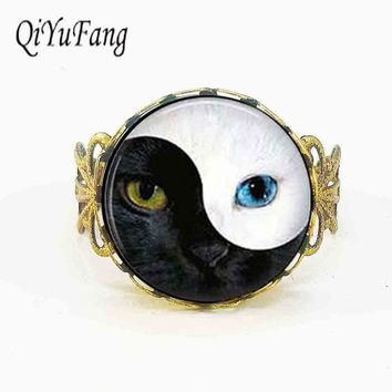 Alice In Wonderland Vintage Ying Yang Cat Eye glass ring charm cat personality Art picture for women men jewelry rings 1pcs/lot