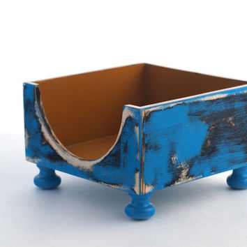Wooden NAPKIN holder - blue / mustard - Rustic style - Cottage style -  shabby chic Wood Box