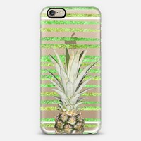 Pineapple Glamour Stripes Tropic (transparent) iPhone 6 case by Lisa Argyropoulos | Casetify