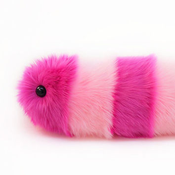 Pink Stripes Snuggle Worm Caterpillar Stuffed Animal Toy Plushie - 8x24 Inches Large Size