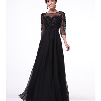 Black Beaded Empire Waist Sleeved Gown 2015 Prom Dresses