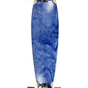SCSK8 Natural Blank & Stained Complete Longboard Pintail Skateboard (Blue, 40