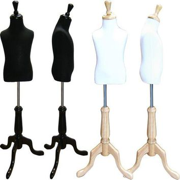 MN-507 Toddler Pinnable Dress Form with Adjustable Wood Tripod Stand (Sizes 3-4 Small)