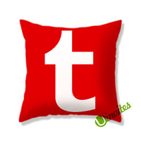 Red Tumblr Logo Square Pillow Cover