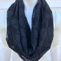 Halloween-Black-Spider Web-Accessories-Women's-Handmade-Infinity-Scarf-Gifts for Her-Polyester-Gothic