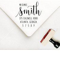 Mr and Mrs Wedding Address Stamp - Custom Wedding Invitation Return Address Stamp - Personalized Address Stamper - Wedding Party Stamp