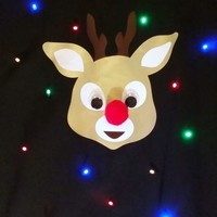 Ugly LIGHT UP CHRISTMAS SWEATER - Rudolph the rednose reindeer