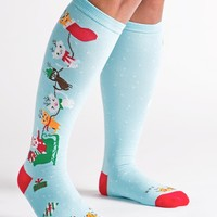 Jingle Cats Holiday Women's Knee Socks by Sock It To Me