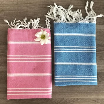 Set of 2 Turkish Hand Towel, Head Towel, Peshkir, Tea Towel, Baby towel for him for her, Wedding, Mother days, kitchen, garden, pink blue