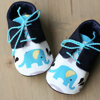 Blue elephant baby boy shoes, navy denim/white/turquoise baby oxfords sneakers crib booties