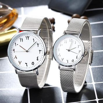 BGG Brand Unique Arabic Numbers jewelry Couple Watches Stainless Steel Mesh Watch Men Women Quartz