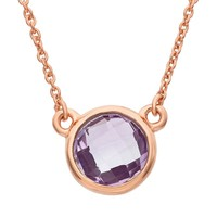 Amethyst 14k Rose Gold Over Silver Solitaire Necklace (Purple)