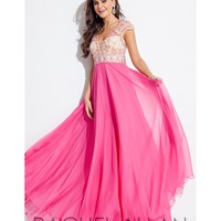 Rachel Allan 7139 Fuchsia Pink Sexy V-Neck Long Dress 2016 Prom Dresses