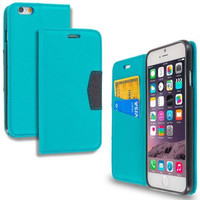 Baby Blue Wallet Flip Pouch Case with ID Card Slots for Apple iPhone 6 6S (4.7)