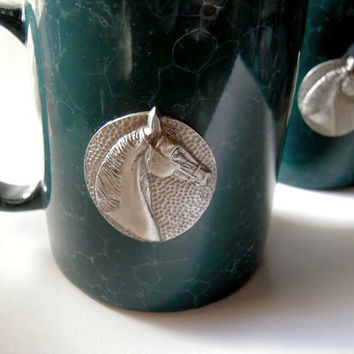 SALE - SET of 2 teal green mugs with pewter horse crests, new never used, marble look mug, equestrian rider, wedding anniversary gift, USA