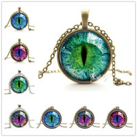 Blue Green Cat Eye Necklace