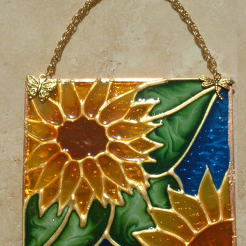 Artisan Made Sunflower Stained Glass Panel Royal Blue Sunflower Suncatcher Wall Art Hanging Glass Kitchen Decor Ornament Yellow Flower