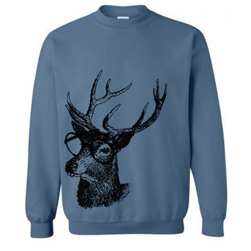 Reindeer Professor Sweater Flex Fleece Pullover Classic Sweatshirt - S M L XL and XXL (15 Color Options)