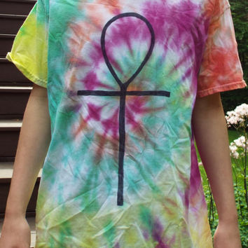Ankh Shirt, Tie Dye Ankh Tshirt, Adult L, Egyptian Shirt, Egyptian TShirt, Bohemian, Hieroglyphics, Ankh Symbol, Ancient Egypt, Key of LIfe
