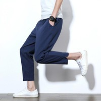 Slim Casual Pants Men Cotton Linen Linen Skinny Pants [10833222147]