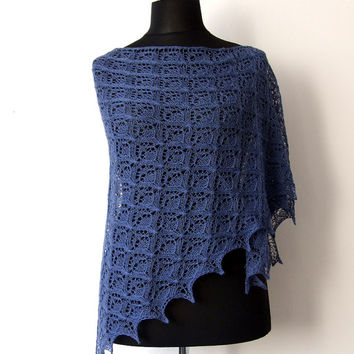 dark blue lace shawl, delicate alpaca silk triangle wrap, luxurious, bridal cover up, something blue