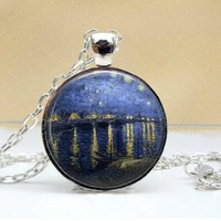 Over The Rhone Dome Pendant Necklace - Famous Van Gogh Painting