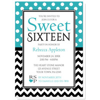 Sweet 16 Invitations - Polka Dot and Chevron