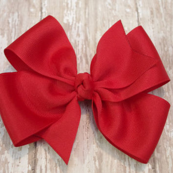 """10% OFF THRU 3/31/13-Extra Large Boutique Hair Bow Red Jumbo Big Bow 5"""" Hairbow Pageant Southern Style Bow"""
