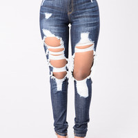 So Much Going On Jeans - Dark Blue