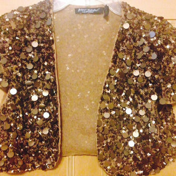 Vintage   Betsey Johnson Cropped Bolero / Shrug/ Capelet Jacket   Gold Sequin