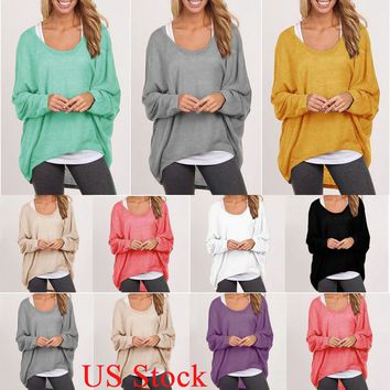 US Womens Casual Long Sleeve Baggy Jumper Tops Loose Sweater Pullover Sweatshirt